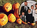 Pumpkin art: Victoria and David Beckham showed off their carving skills by displaying these family caricatures on Twitter