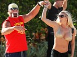 The Hulkster and Jennifer appeared to have put the sex tape scandal behind them as they twirled at the poolside