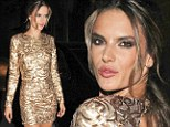 Golden girl: Alessandra Ambrosio shimmered in a gold-sequin mini dress as she arrived at an afterparty for Sao Paulo Fashion Week in Brazil on Tuesday