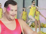 It's bound to be a (belly) flop: James Corden and Jack Whitehall sport costumes as they take part in synchronised swimming... while Jamie Redknapp sticks to shorts