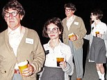 Old timers: Harrison Ford and Calista Flockhart appear to be dressed as frumpy pensioners in bizarre matching Halloween costumes