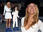 Kimberley Garner and niece are seen skating at the launch of the Natural History Museum Ice Rink