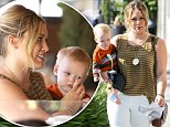 Hilary Duff enjoys some quality mother-and-son time with six month old baby Luca as they have lunch in Beverly Hills