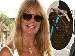 Goldie Hawn arrives at LAX Airport in style with her personalized Louis Vuitton luggage
