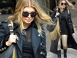 Fergie was spotted wearing gold in New York City