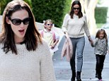 Jennifer Garner takes lookalike daughters for an afternoon walk as she returns to her role as Supermum
