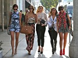 Una Healy, Rochelle Humes aka Rochelle Wiseman, Mollie King, Vanessa White, Frankie Sandford 'The Saturdays' shopping on Robertson Boulevard Los Angeles,