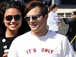 Happy days: Ashton Kutcher and Mila Kunis took in the sights of Sydney, Australia, on Friday while on a visit Down Under