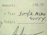 This image posted on Reddit purports to show a restaurant bill where a woman made an apologies for not leaving a tip because she's a 'single mom' - despite spending $138.35 on a meal