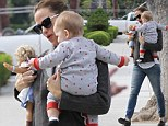 Hello Dolly! Supermum Jennifer Garner holds baby Samuel in one arm and a toy doll in the other during daytime stroll
