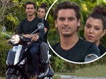 Kourney Kardashian and Scott Disick go for a spin on a scooter and look content in each other's company in Miami