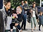 Playing dress up: Jessica Alba enjoyed breakfast with her husband Cash Warren and their two little fashion mavens at Le Pain Quotidien