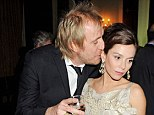Cold shoulder: Anna Friel gave Rhys Ifans the brush-off as he attempted to plant a kiss on her cheek at the press night party of her new West End Play, Uncle Vanya