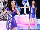 Singing the President's praises! Katy Perry wears skin-tight dress emblazoned with Obama slogan at Wisconsin rally