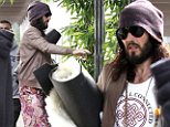 Dressed for (yoga) success! Russell Brand dons eccentric ensemble as he heads to class