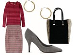Mix tweed with a textured jumper. Skirt, £118, theoutnet.com Jumper, £135, my-ward robe.com Earrings, £20, whistles.co.uk Tote, £25, next.co.uk Courts, 59.99, mango.com