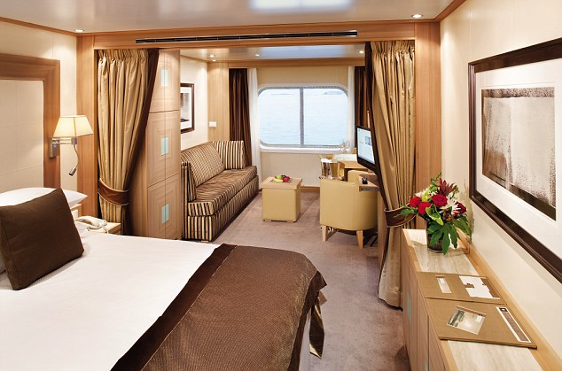 The interior of a cabin onboard a Seabourn cruise ship