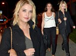 Getting leggy! Ashley Benson shows off her long pins in tight leather trousers as she steps out for dinner