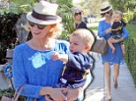 Proud mother January Jones enjoyed a day out with son Xander during a break from work in Beverly Hills this weekend