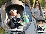 Baby's dapper day out! Alessandra Ambrosio dresses her five-month-old son Noah in a stylish pageboy hat