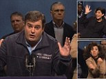 Spoof: Played by Bobby Moynihan, the spoof Governor Christie praised Obama for his support but said he would 'be a soldier' and vote for Romney