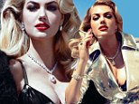 What a sparkler! Kate Upton poses in silver trench coat with just a black lace bra... (and copious amounts of diamonds)