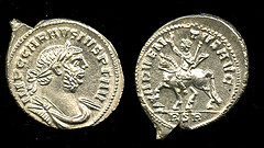 Carausius Adventus silver denarius - cleaned by BM conservation