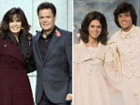 Marie and Donny Osmond at the height of Osmondmania (right) in 1975, and the siblings today (left)