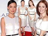 Awkward! Olivia Wilde and Julianne Moore step out at awards bash sporting near-identical white dresses and matching black belts