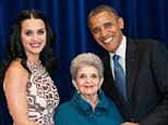 Proud moment: Katy Perry tweeted a photo of herself and her grandmother Ann Hudson with President Obama