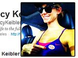 By George, Clooney would be proud! Make-up free Stacy Keibler shows off her 'I voted' sticker in between a gruelling gym session