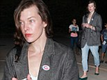 A proud immigrant American! Virtually make-up free Milla Jovovich wears 'I Voted' sticker after visit to polling station