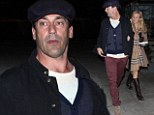 Mad Men star Jon Hamm enjoys a romantic meal with girlfriend after working up an appetite on the campaign trail