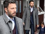 Dapper dad and daughter day: Ben Affleck and Seraphina were dressed up in blue as the actor picked up coffee in Brentwood