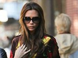 Looking good: Victoria Beckham rocks 70's style florals and flares in the Big Apple