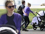 Double the fun! New mother Anna Paquin takes infant twins out for beach side stroll with husband Stephen Moyer