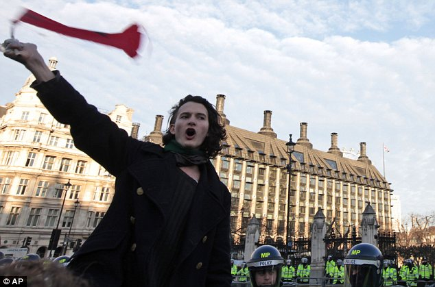 Charlie Gilmour during the demonstration in Parliament Square