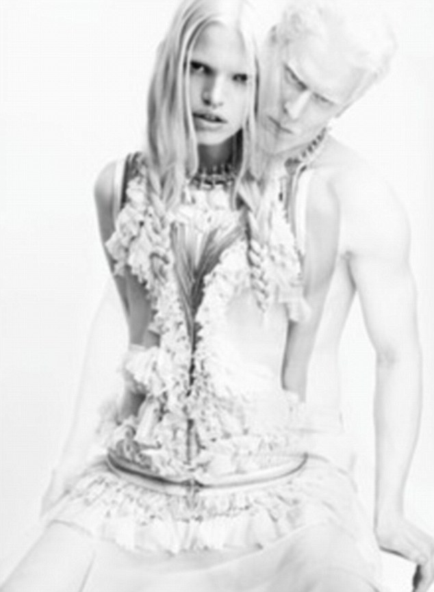 Pale and interesting: Albino model Stephen Thompson appears in Givenchy's latest advertising campaign