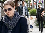 Loving couple Amy Adams and Darren Le Gallo spend the day with their daughter Aviana where they enjoyed a nice lunch at Nate N' Al Delicatessen & Restaurant before doing a little shopping in Beverly Hills