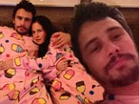 Pajama party: James Franco posted pictures on WhoSay showing him and a mystery brunette wearing cupcake-patterned sleepwear