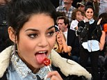My girl lollipop: Vanessa Hudgens catches a basketball game with the girls
