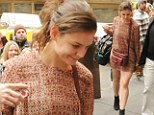She's all razzle dazzle! Katie Holmes shows off her legs in a daringly short mini-dress as she heads to Broadway show