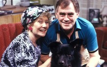 Vera Duckworth (Liz Dawn) and Jack Duckworth (Bill Tarmey) in a 1980 Christmas edition of Coronation Street with their dog Boomer