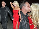 Painting the town AND her husband red! Courtney Stodden, 18, busts out of a scarlet dress as she leaves lipstick all over Doug's face after cringeful PDA