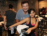 Show of support: Alec Baldwin and wife Hilaria Thomas took part in the SoulCycle's Soul Relief Rides in aid of the victims of Hurricane Sandy on Sunday