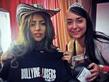 Hat's nice: Lady Gaga showed off a 'bullying is for losers' T-shirt in Brazil at the weekend