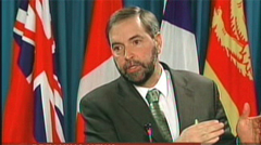NDP deputy leader Thomas Mulcair said at a news conference Sunday in Ottawa that the Conservatives illegally intercepted a private meeting between NDP lawmakers and that the party was consulting legal experts on whether the Criminal Code was violated.