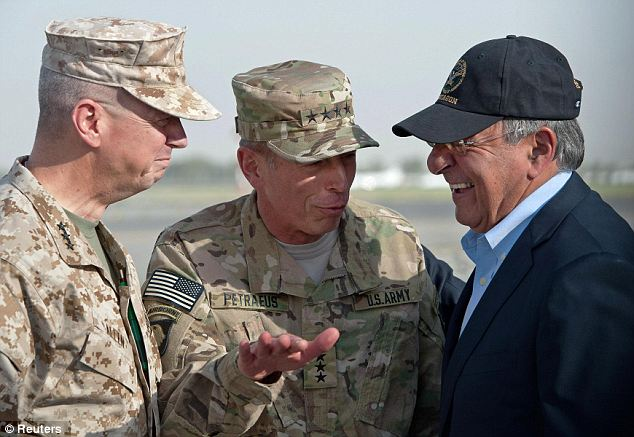 Brothers in arms: Allen (left) took over for Petraeus (center, seen with Defense Secretary Leon Panetta) as the commander of the U.S. and NATO forces in Afghanistan after Petraeus left to become the director of the CIA