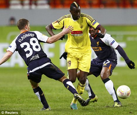 On the radar: Liverpool are chasing Anzhi's Lacina Traore (centre)