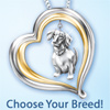Loyal Companion Dog Lover Necklace Jewelry Gift Idea - Sterling Silver Dog Necklace Jewelry! Heart-shaped Pendant with Choice of Dog Breed Charms! Adorable Dog Lover Gift Idea!